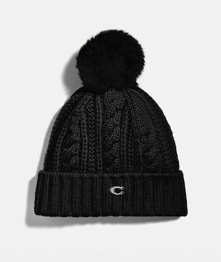 KNIT HAT WITH SHEARLING POM POM