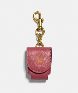 WIRELESS EARBUD CASE BAG CHARM WITH COACH PATCH