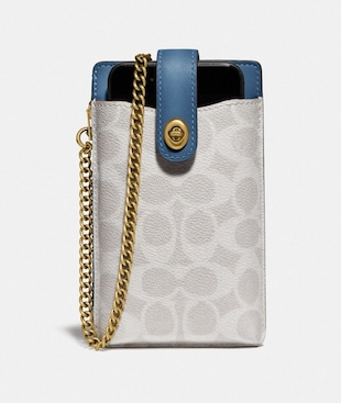 TURNLOCK CHAIN PHONE CROSSBODY IN BLOCKED SIGNATURE CANVAS