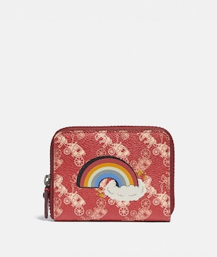 SMALL ZIP AROUND WALLET WITH HORSE AND CARRIAGE PRINT AND RAINBOW