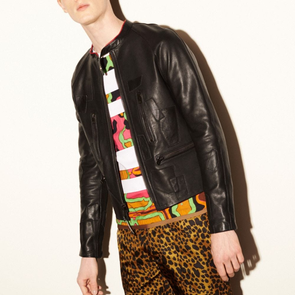 LEATHER PATCHED RACER JACKET
