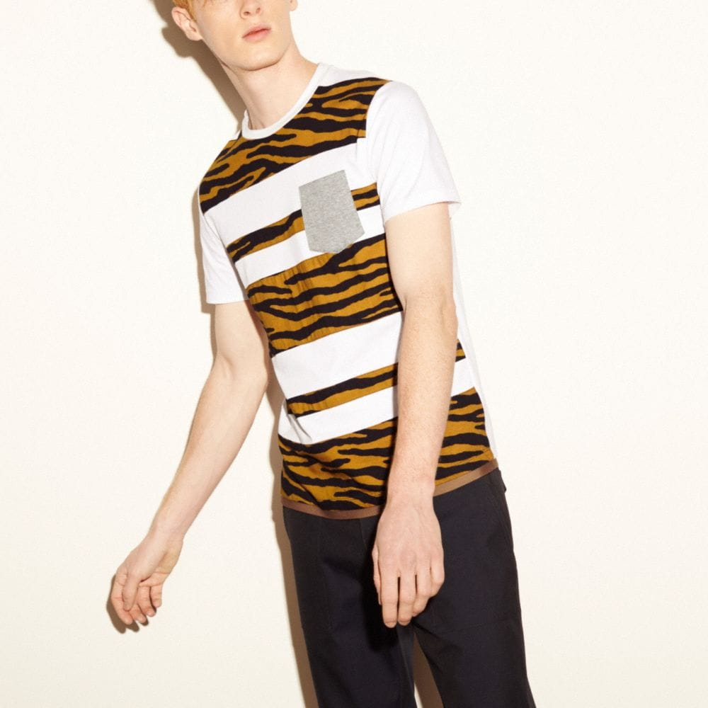 TIGER APPLIQUE STRIPE TEE SHIRT