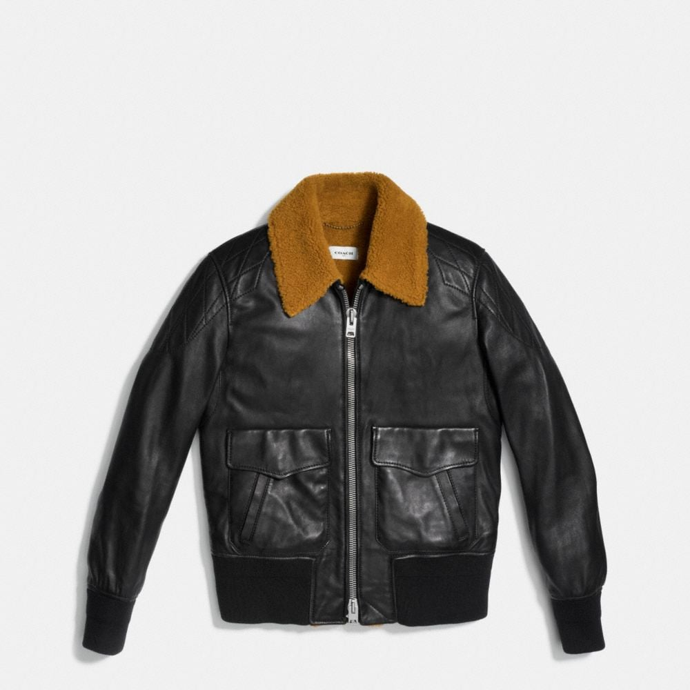 WASHED LEATHER AVIATOR BOMBER JACKET