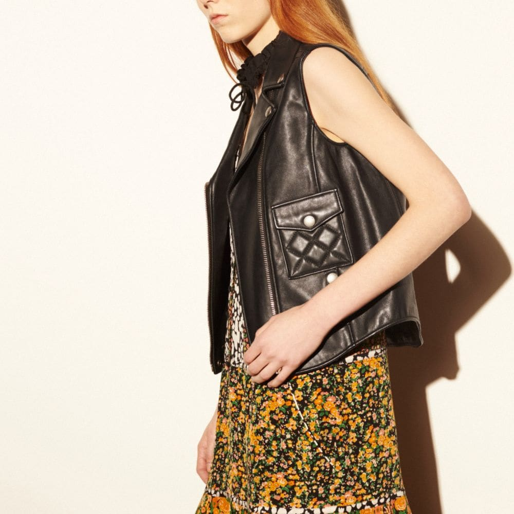 APPLIQUE BIKER VEST
