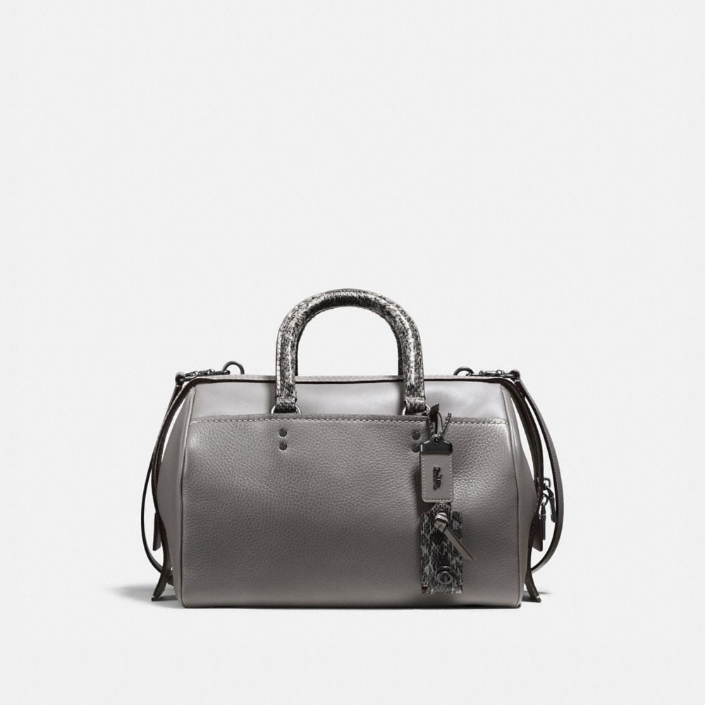 ROGUE SATCHEL IN GLOVETANNED PEBBLE LEATHER WITH COLORBLOCK SNAKE
