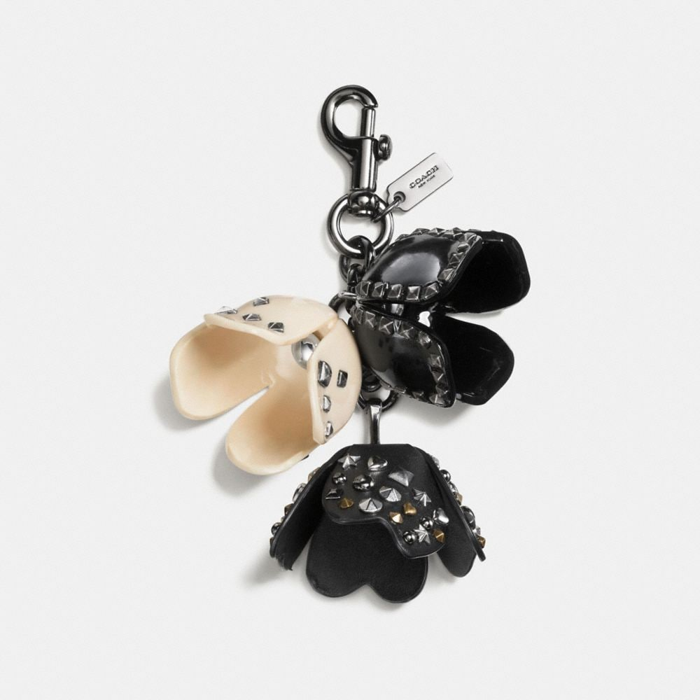 STUDDED TEA ROSE BAG CHARM