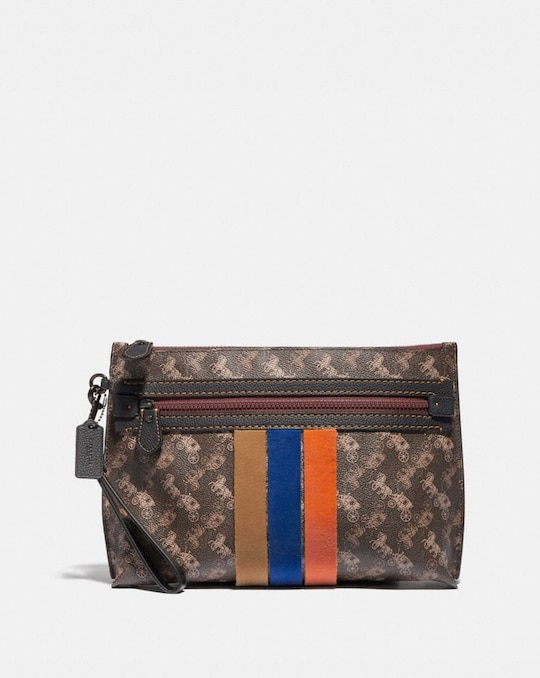 ACADEMY POUCH WITH HORSE AND CARRIAGE PRINT AND VARSITY STRIPE
