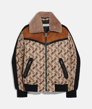 HORSE AND CARRIAGE PRINT JACKET WITH REMOVABLE SHEARLING COLLAR