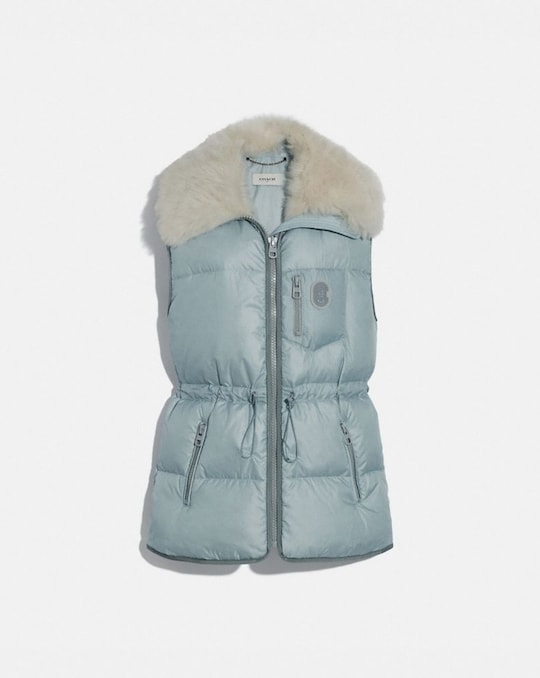 PUFFER VEST WITH REMOVABLE SHEARLING COLLAR
