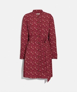 HORSE AND CARRIAGE PRINT PLEATED SHIRT DRESS