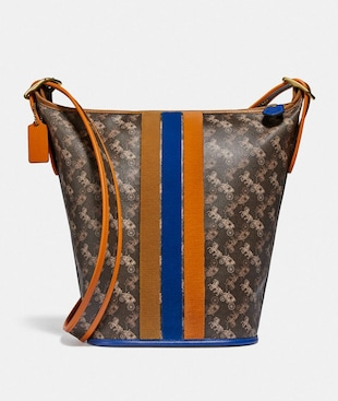 DUFFLE 24 WITH HORSE AND CARRIAGE PRINT AND VARSITY STRIPE