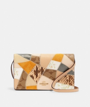 HAYDEN FOLDOVER CROSSBODY CLUTCH WITH SIGNATURE CANVAS PATCHWORK