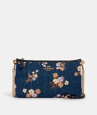 ZIP TOP CROSSBODY WITH PAINTED FLORAL BOX PRINT