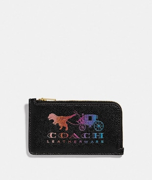 SMALL L-ZIP CARD CASE WITH REXY AND CARRIAGE