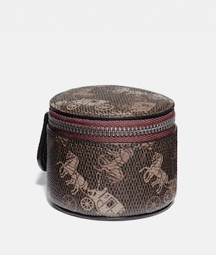ROUND CASE WITH HORSE AND CARRIAGE PRINT