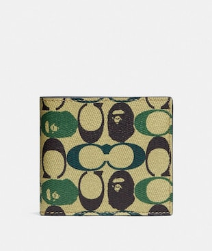 BAPE X COACH COIN WALLET IN SIGNATURE CANVAS WITH APE HEAD