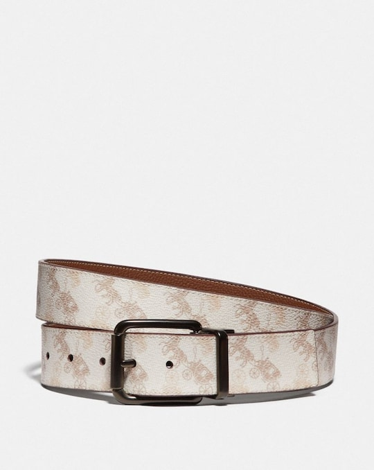 ROLLER BUCKLE CUT-TO-SIZE REVERSIBLE BELT WITH HORSE AND CARRIAGE PRINT, 38MM
