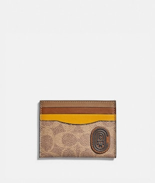 CARD CASE IN COLORBLOCK SIGNATURE CANVAS WITH COACH PATCH