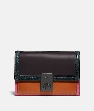HUTTON WALLET WITH COLORBLOCK SNAKESKIN DETAIL