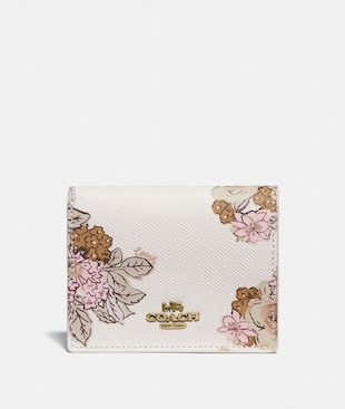 SMALL SNAP WALLET WITH FLORAL BOUQUET PRINT