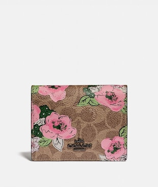 SMALL SNAP WALLET IN SIGNATURE CANVAS WITH BLOSSOM PRINT