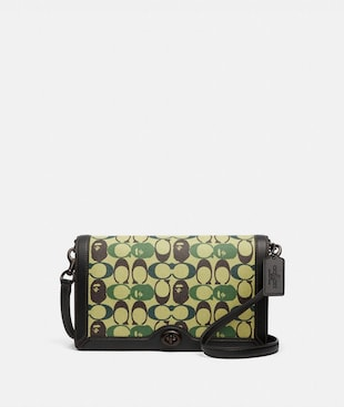 BAPE X COACH RILEY CROSSBODY IN SIGNATURE CANVAS WITH APE HEAD