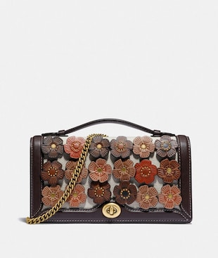 RILEY CHAIN CLUTCH WITH TEA ROSE