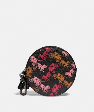 COIN PURSE BAG CHARM WITH HORSE AND CARRIAGE PRINT