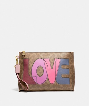 CHARLIE POUCH IN SIGNATURE CANVAS WITH LOVE PRINT