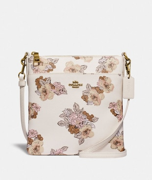 KITT MESSENGER CROSSBODY WITH FLORAL BOUQUET PRINT