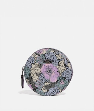 ROUND COIN CASE WITH HERITAGE FLORAL PRINT