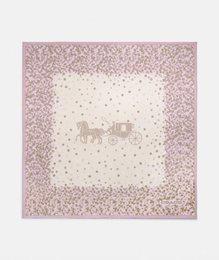 HORSE AND CARRIAGE TEA ROSE PRINT SILK SQUARE SCARF