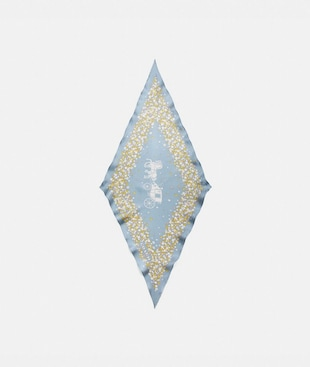 HORSE AND CARRIAGE TEA ROSE PRINT SILK DIAMOND SCARF