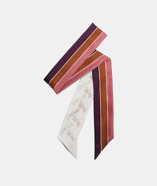 DIAGONAL HORSE AND CARRIAGE VARSITY STRIPE PRINT SILK SKINNY SCARF