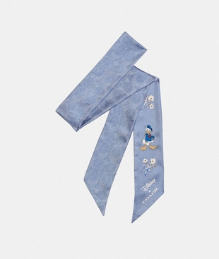DISNEY X COACH SIGNATURE DONALD DUCK PRINT SILK SKINNY SCARF