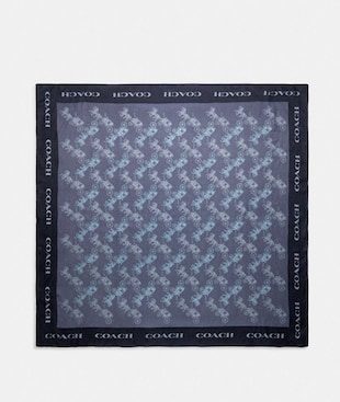 HORSE AND CARRIAGE PRINT SILK SQUARE SCARF