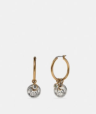 HORSE AND CARRIAGE COIN HOOP EARRINGS