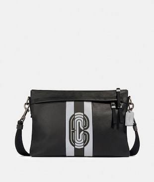 EDGE MESSENGER WITH REFLECTIVE VARSITY STRIPE AND COACH PATCH