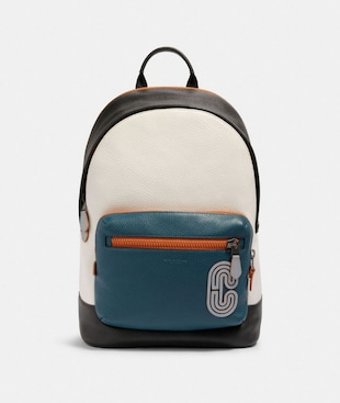WEST BACKPACK IN COLORBLOCK WITH REFLECTIVE COACH PATCH