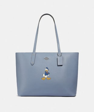 DISNEY X COACH CENTRAL TOTE WITH ZIP WITH DONALD DUCK MOTIF