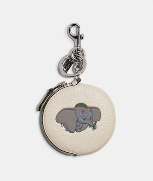 DISNEY X COACH CIRCULAR COIN POUCH BAG CHARM WITH DISNEY MOTIF
