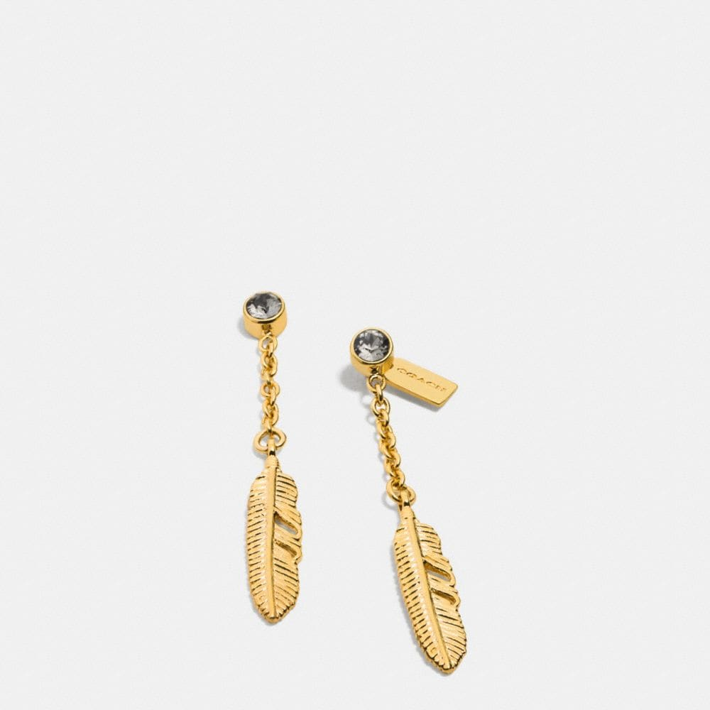PAVE METAL FEATHER DROP EARRINGS