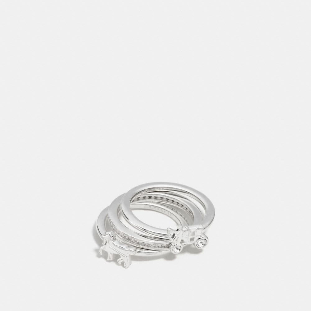 STERLING PAVE HORSE AND CARRIAGE RING SET