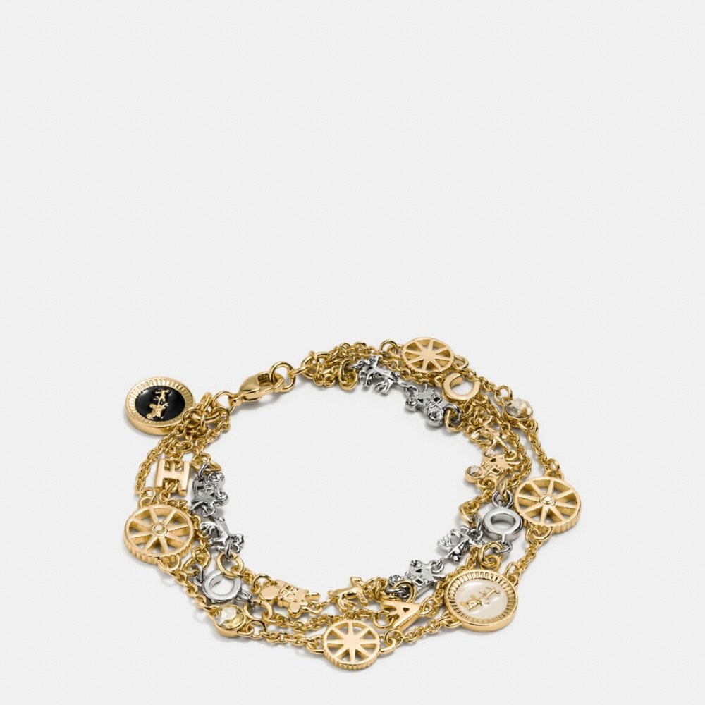 PAVE HORSE AND CARRIAGE COIN STRAND BRACELET