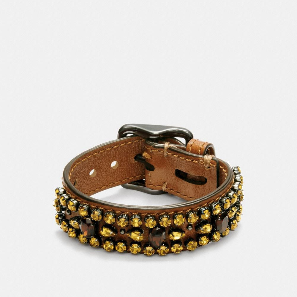 WIDE LEATHER ENCRUSTED CRYSTAL BRACELET