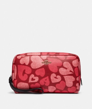 BOXY COSMETIC CASE WITH COACH HEART PRINT
