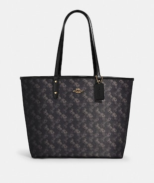 REVERSIBLE CITY TOTE WITH HORSE AND CARRIAGE PRINT