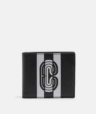 3-IN-1 WALLET WITH REFLECTIVE VARSITY STRIPE AND COACH PATCH