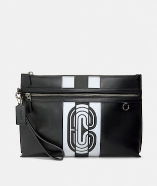 SPORTY CARRY ALL POUCH WITH REFLECTIVE VARSITY STRIPE AND COACH PATCH