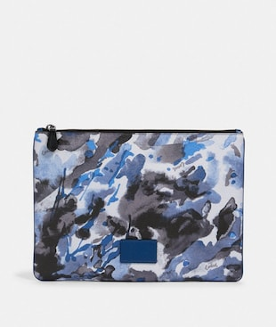 LARGE POUCH WITH WATERCOLOR SCRIPT PRINT